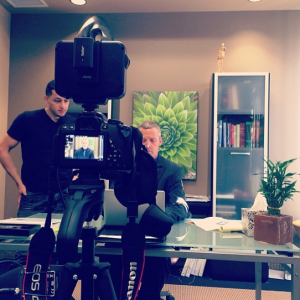 Shooting some video with a client in 2014.
