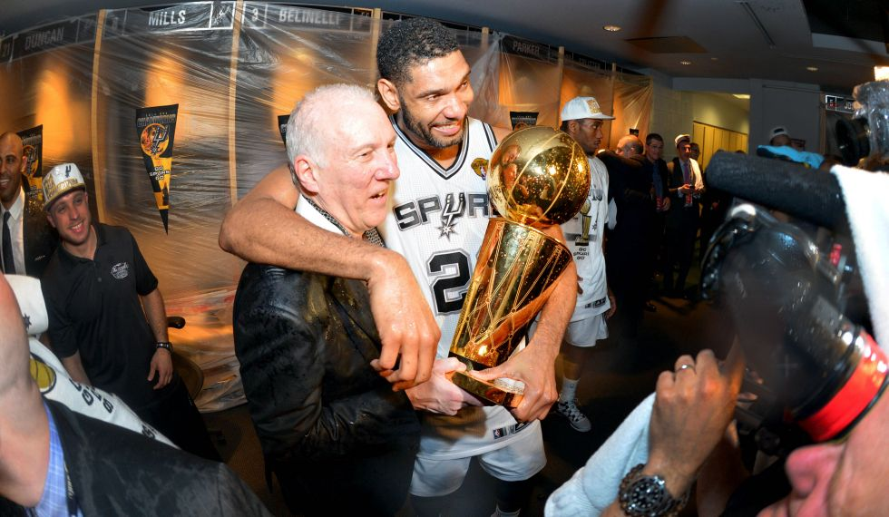Coach Pop and former San Antonio Spurs player Tim Duncan. Photo credit: Fox Sports.